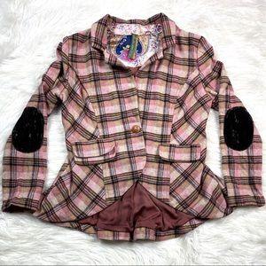 Aratta Anthropologie Plaid Blazer Jacket Velvet
